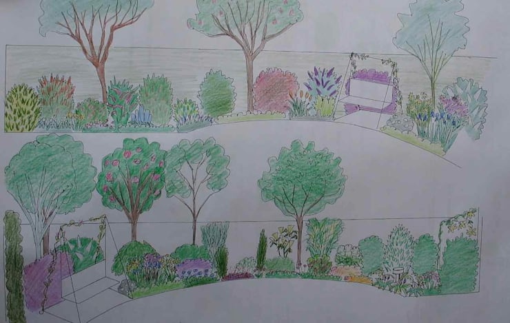 Elevations:   by Jane Harries Garden Designs,
