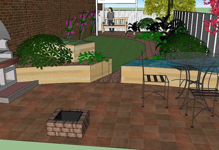 View from patio towards the back:   by Jane Harries Garden Designs