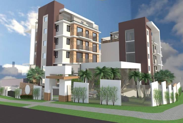 Edificio Residencial: Casas  por Maria Claudia Puga e Nicole Schwab Arquitetura e Interiores