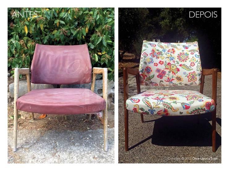CADEIRA CAPARICA * Antes & Depois: Sala de estar  por Once Upon a Trash