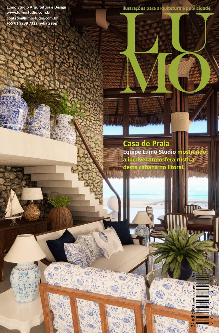 Revista Lumo Magazine 2ª edição: Salas de estar modernas por Edson Gomes Arquitetos Associados Construtora LTDA