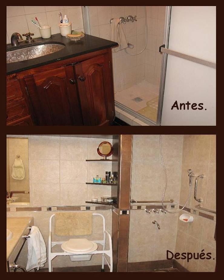 Baños discapacitados: Baños de estilo  por Estela Ramírez, arquitecta.