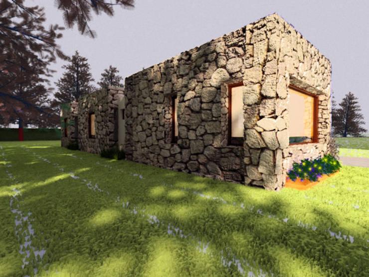 VIVIENDA UNIFAMILIAR EN EL CAMPO / RENDERS: Casas de estilo  por CubiK