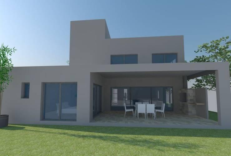 Fachada posterior: Casas de estilo  por E+ arquitectura