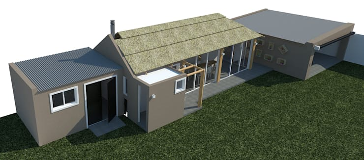 Vista aérea del conjunto: Casas de estilo  por Bessone Arquitectos,Moderno