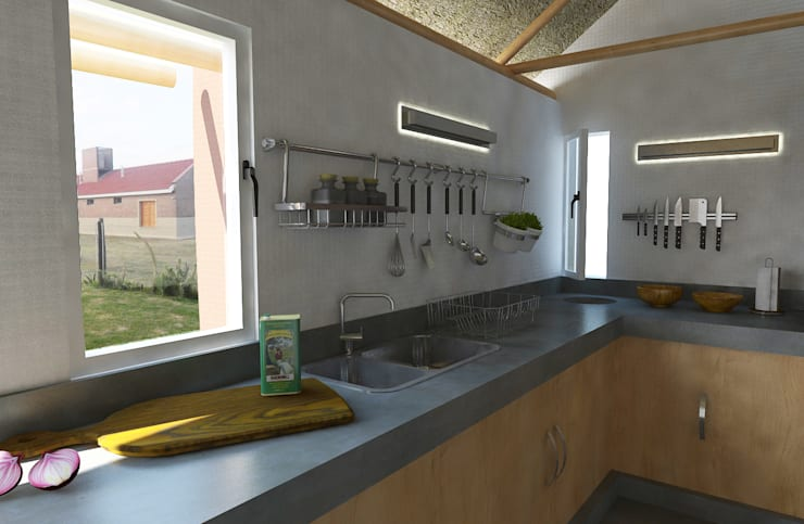 Interior quincho: Cocinas de estilo  por Bessone Arquitectos,Moderno