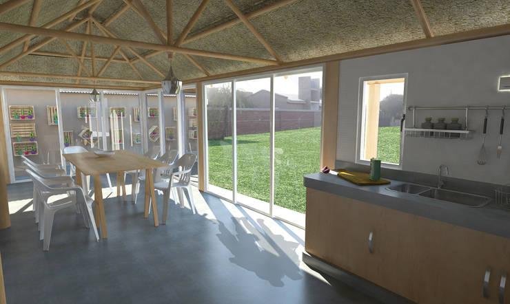 Interior quincho : Comedores de estilo  por Bessone Arquitectos