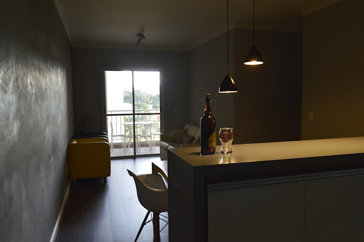 Sala de jantar e estar: Salas de estar  por Zappa e Oliveira Arquitetura e Interiores
