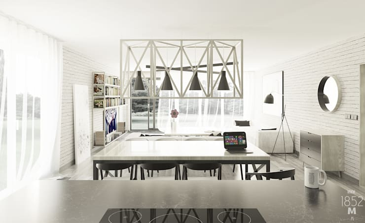 JASNA CZĘŚĆ DZIENNA: styl , w kategorii Salon zaprojektowany przez 1852M,Minimalistyczny