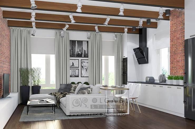 Особенности дизайна гостиной в стиле лофт: фото интерьера: Гостиная в . Автор – Olga's Studio