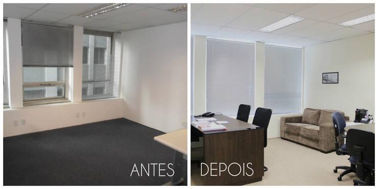 Antes e depois da reforma da sala da diretoria Espaços comerciais minimalistas por É! Arquitetura e Design Minimalista MDF