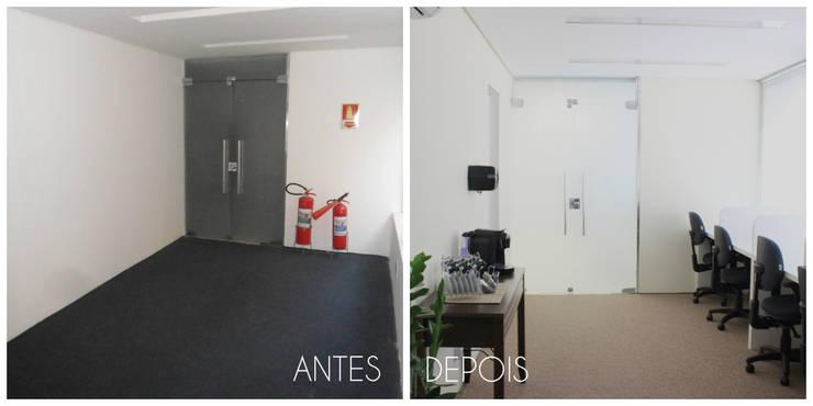 Antes e depois da reforma da sala de estudos Espaços comerciais minimalistas por É! Arquitetura e Design Minimalista MDF