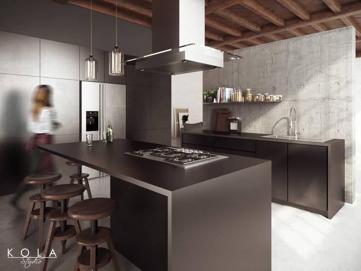 """Kitchen in loft / Kuchnia w lofcie: styl {:asian=>""""azjatyckie"""", :classic=>""""klasyczny"""", :colonial=>""""kolonialny"""", :country=>""""wiejskie"""", :eclectic=>""""eklektyczny"""", :industrial=>""""przemysłowy"""", :mediterranean=>""""śródziemnomorski"""", :minimalist=>""""minimalistyczny"""", :modern=>""""nowoczesny"""", :rustic=>""""rustykalny"""", :scandinavian=>""""skandynawski"""", :tropical=>""""tropikalny""""}, w kategorii  zaprojektowany przez Kola Studio Architectural Visualisation,"""