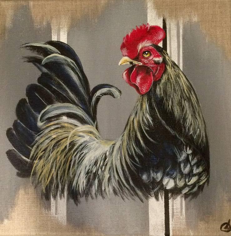 Petit coq sur rayures grises par Odile Laresche Artiste Peintre Animalier Éclectique Lin Rose