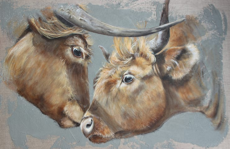 Nez à Nez sur le Platier d'Oyé par Odile Laresche Artiste Peintre Animalier Éclectique Lin Rose