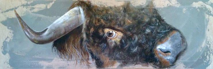 Jeune Taureau Highland par Odile Laresche Artiste Peintre Animalier Éclectique Lin Rose