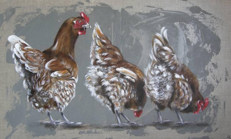 Trois Petites poules rousses par Odile Laresche Artiste Peintre Animalier Éclectique
