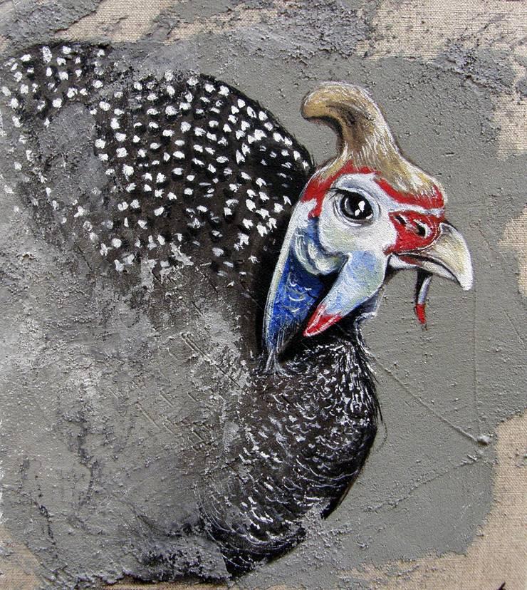 Pintade au carré par Odile Laresche Artiste Peintre Animalier Éclectique