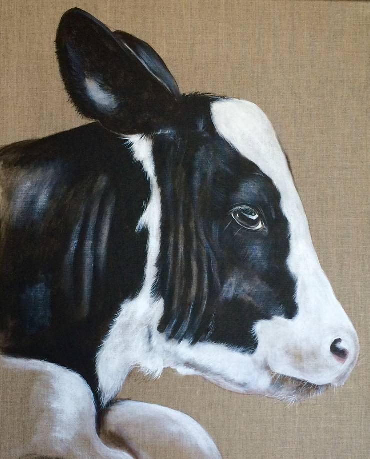 Petit veau noir et blanc par Odile Laresche Artiste Peintre Animalier Éclectique