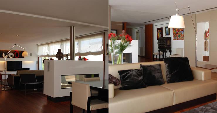 现代客厅設計點子、靈感 & 圖片 根據 Inexistencia Lda 現代風