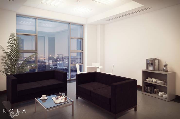 Office interiors - lounge space: styl , w kategorii  zaprojektowany przez Kola Studio Architectural Visualisation