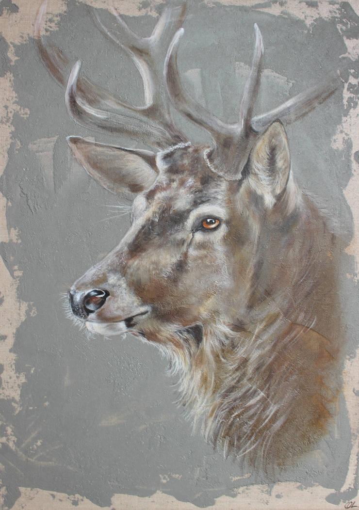 Cerf fond gris par Odile Laresche Artiste Peintre Animalier Éclectique