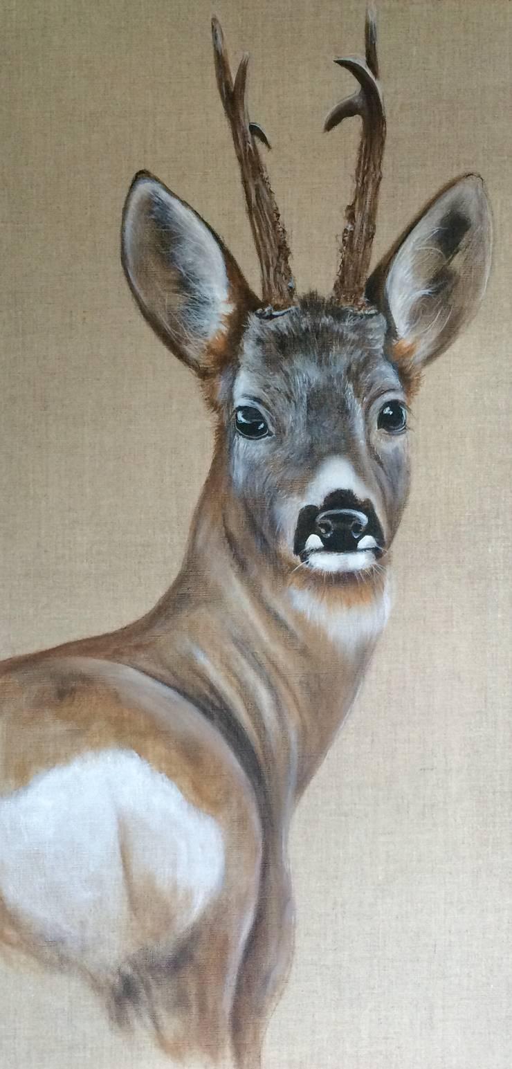 Chevreuil raccourcis dos par Odile Laresche Artiste Peintre Animalier Éclectique