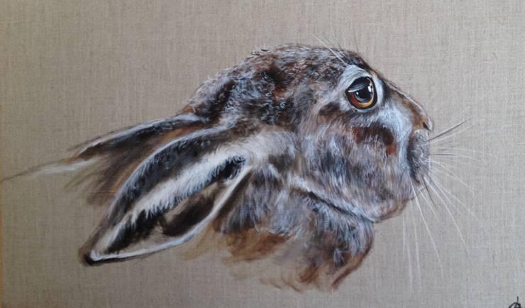 Lièvre au gite par Odile Laresche Artiste Peintre Animalier Éclectique