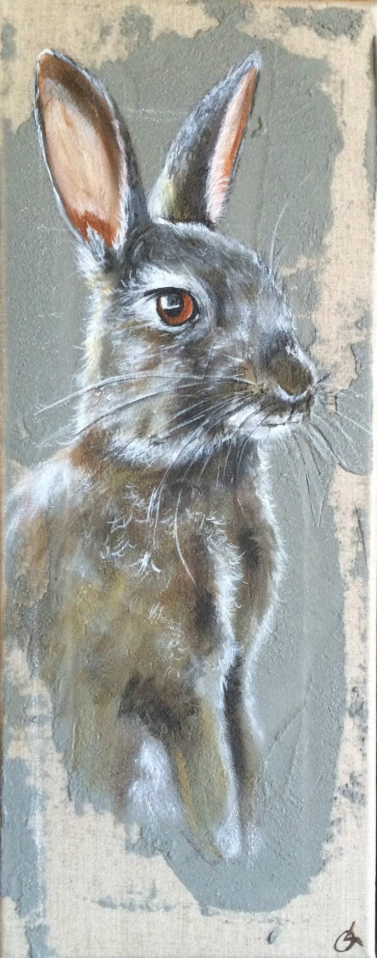 Lapin fond gris par Odile Laresche Artiste Peintre Animalier Éclectique