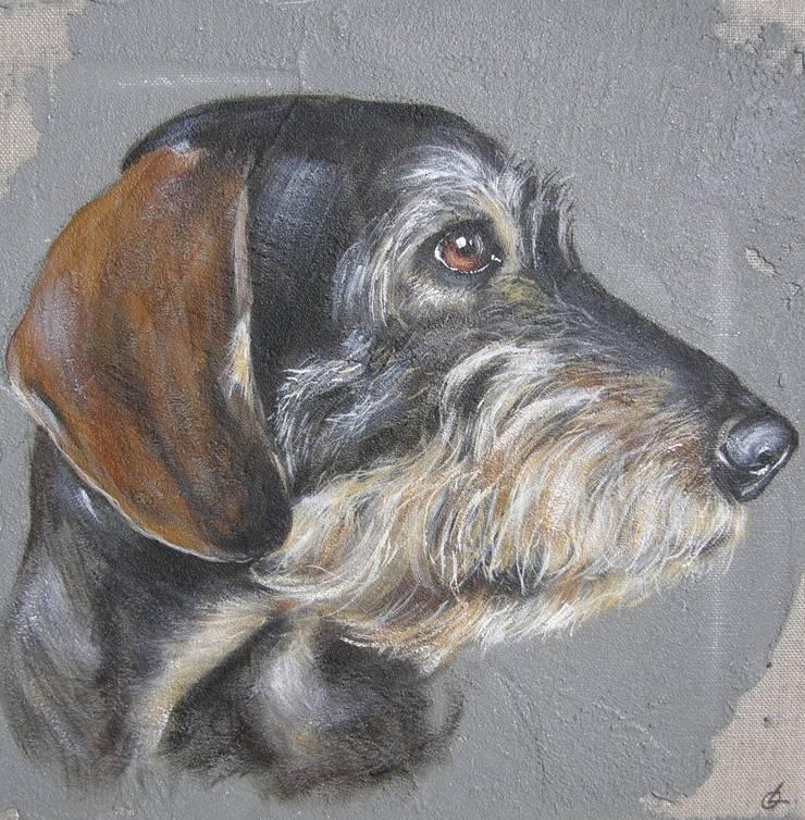 Teckel fond gris par Odile Laresche Artiste Peintre Animalier Éclectique