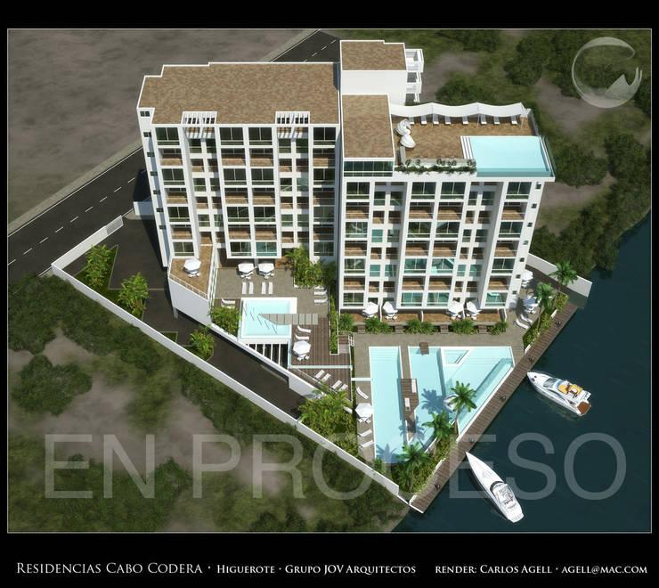 Imagenes 3D (Render) proyecto de Arquitectura: Residencias Cabo Codera.: Casas de estilo minimalista por Grupo JOV Arquitectos