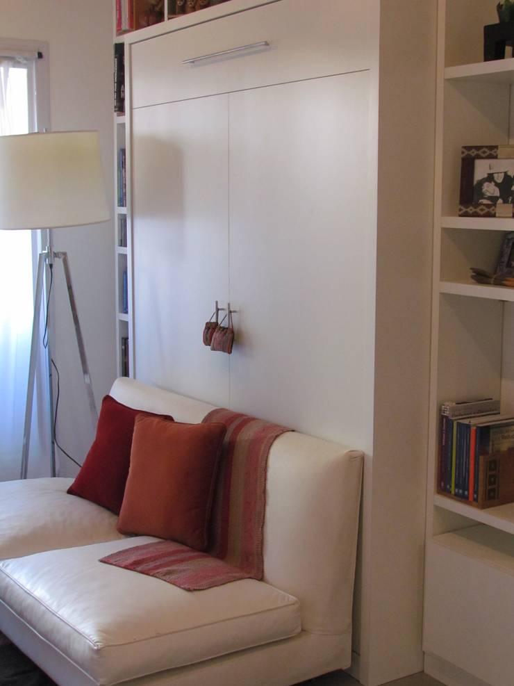 Cama rebatible + biblioteca de MINBAI Minimalista Madera Acabado en madera