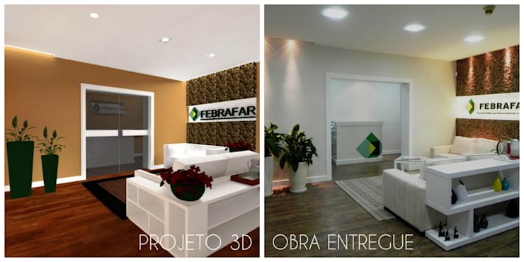 Comparativo projeto 3D e obra entregue.: Espaços comerciais  por É! Arquitetura e Design