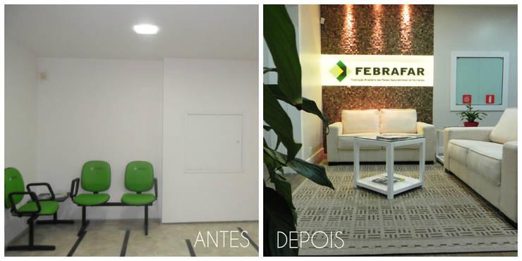 Antes e depois da reforma.: Edifícios comerciais  por É! Arquitetura e Design