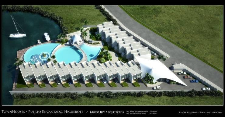 Imagenes 3D (Render) vista aérea del conjunto de 16 viviendas unifamiliares..: Casas de estilo  por Grupo JOV Arquitectos