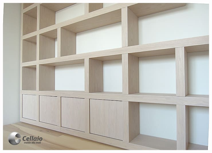 Biblioteczka w kratkę: styl , w kategorii  zaprojektowany przez Cellaio,Nowoczesny