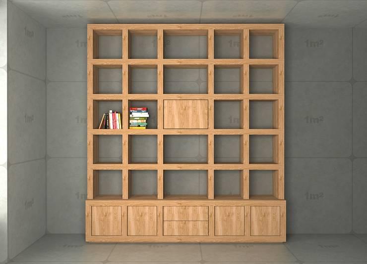 Biblioteczka w kratkę z barkiem: styl , w kategorii Salon zaprojektowany przez Cellaio