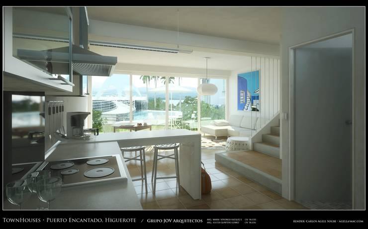 Imagenes 3D (Render) Vista interna de la planta baja,  Cocina, area social vista hacia la piscina y exteriores: Pasillos y vestíbulos de estilo  por Grupo JOV Arquitectos