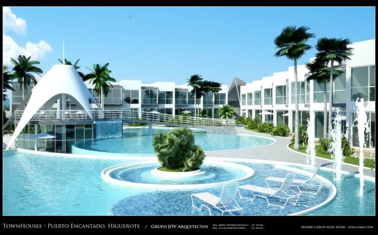 Imagenes 3D (Render) Vista  externa de las areas recreacionales en torno a la piscina: Piscinas de estilo  por Grupo JOV Arquitectos