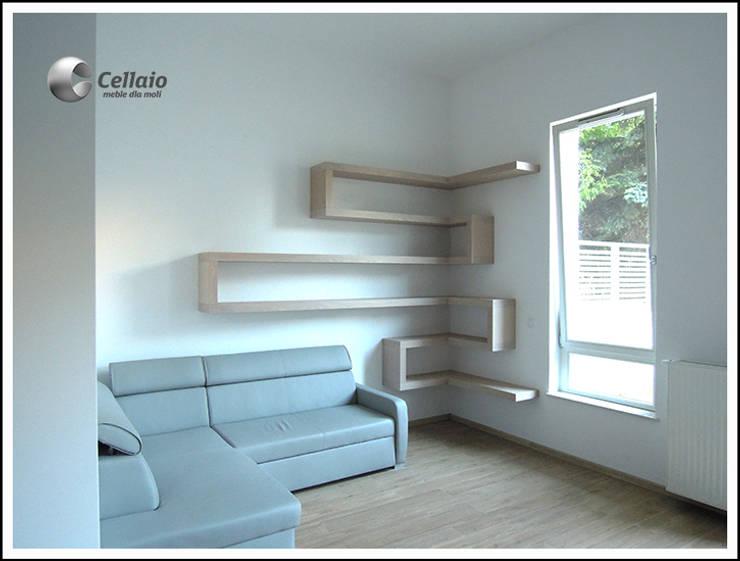 Półki w salonie: styl , w kategorii Pokój multimedialny zaprojektowany przez Cellaio