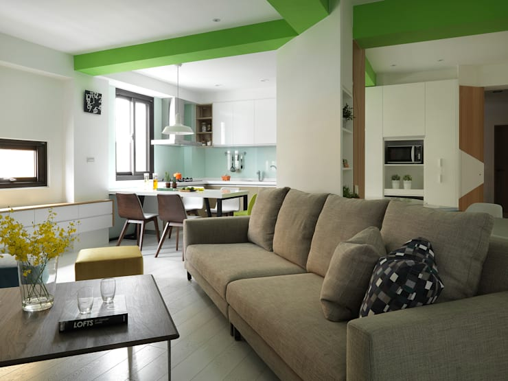 [Home] ZinArea Interior Design: KD Panels의  거실,북유럽 우드 우드 그레인