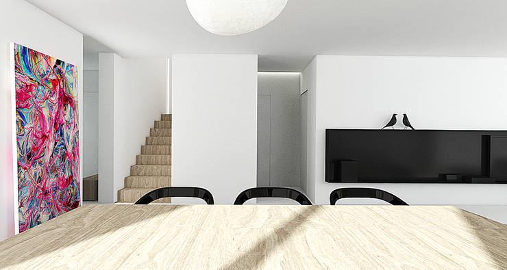 PURE - salon: styl , w kategorii Salon zaprojektowany przez PROSTO architekci,Minimalistyczny
