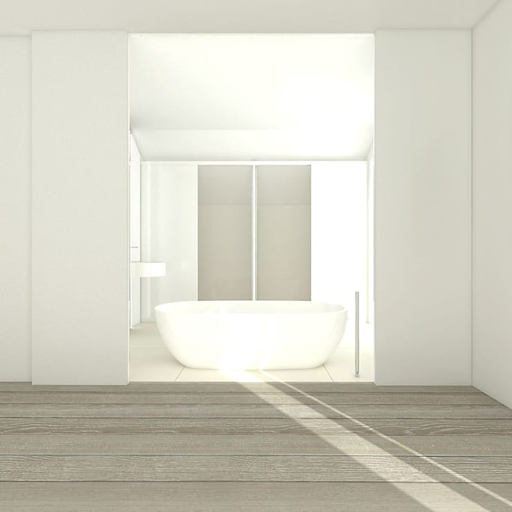 PURE - łazienka małżeńska: styl , w kategorii Łazienka zaprojektowany przez PROSTO architekci,Minimalistyczny