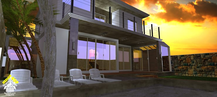 Fachada de Casa – Terras do Vale, Caçapava: Casas modernas por Design4Up