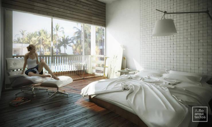 Punta Caracol : Recámaras de estilo  por A.flo Arquitectos