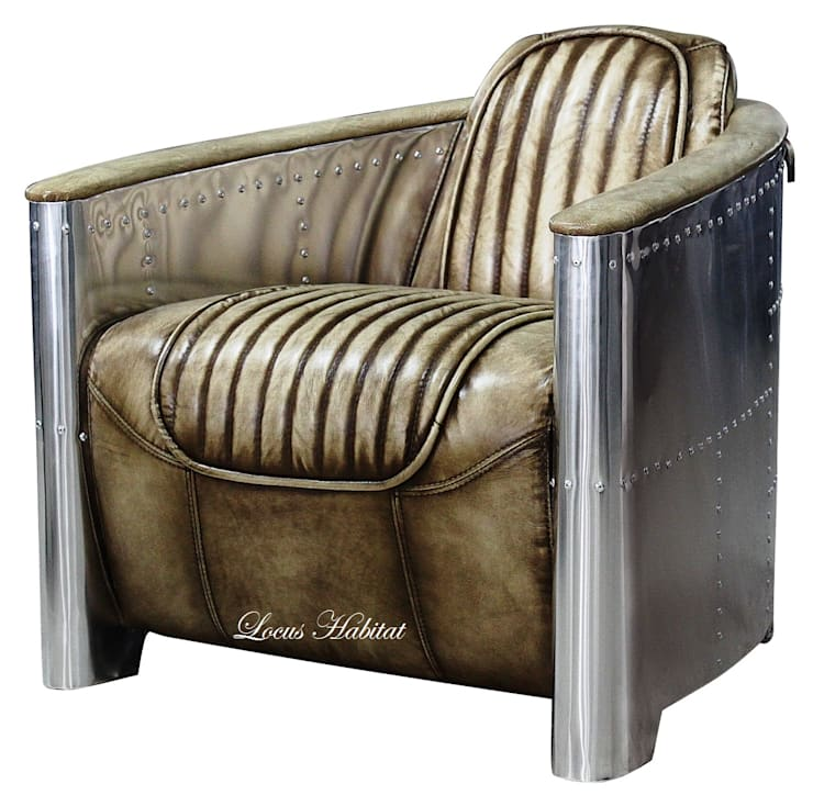 AviatorNex Armchair: industrial  by Locus Habitat,Industrial Leather Grey
