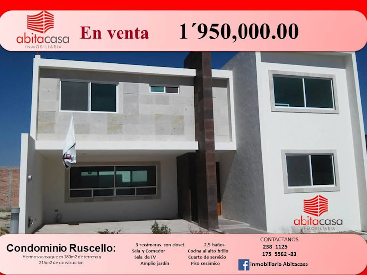 Condominio Ruscello, Aguascalientes. Casas clásicas de Inmobiliaria Abitacasa S. A. De C.V. Clásico