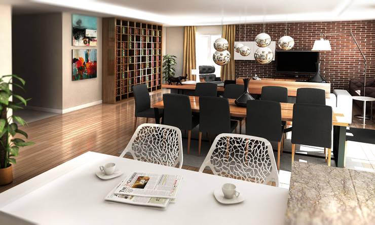 Cephe Çizimi – 3D Görselleştirme ve Sunum:  tarz Oturma Odası