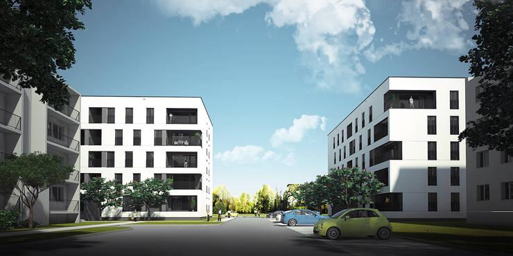 NOWE BLOKI W ŁOWICZU: styl , w kategorii Domy zaprojektowany przez PROSTO architekci