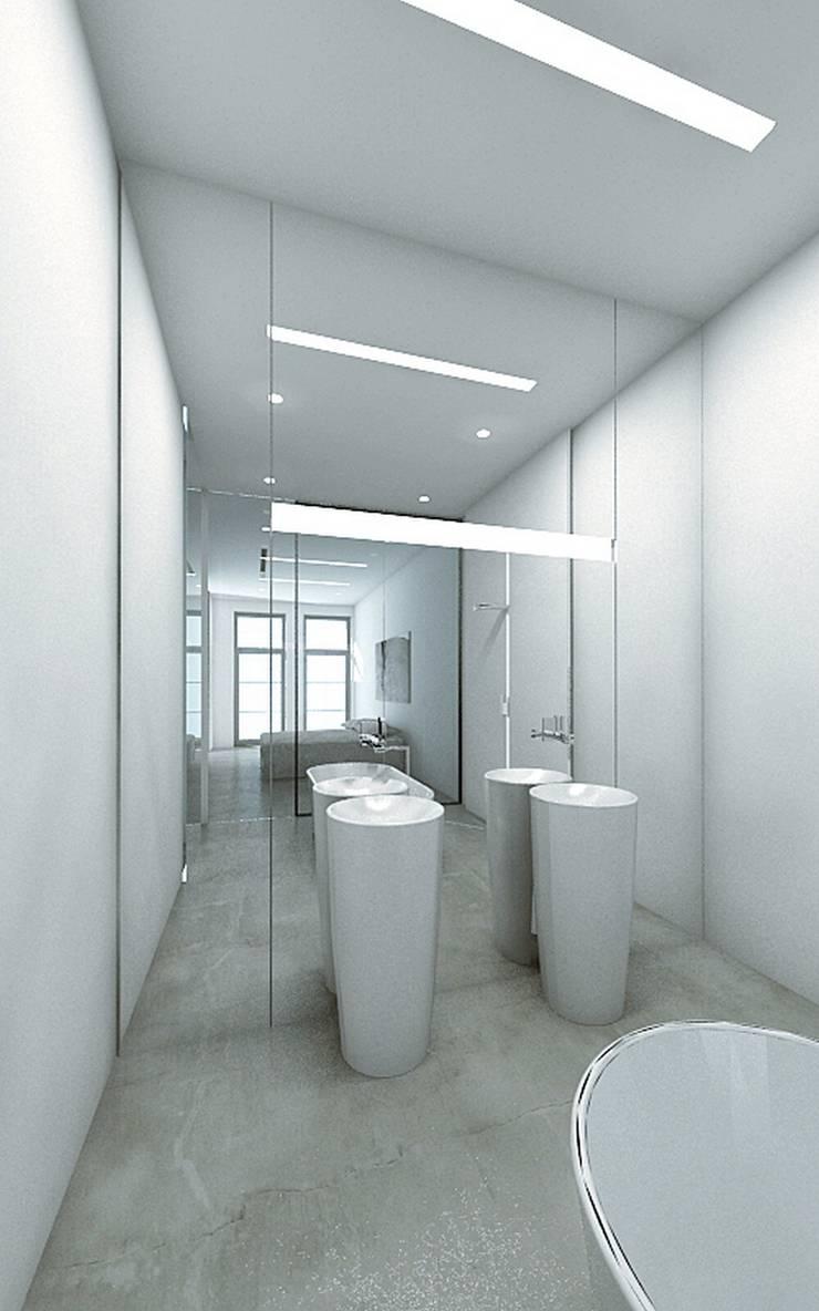 GLOSSY: styl , w kategorii Łazienka zaprojektowany przez PROSTO architekci,Minimalistyczny
